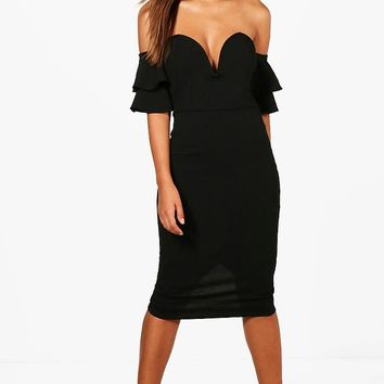 Kyra Flute Sleeve Off the Shoulder Midi Dress | Boohoo