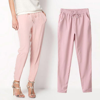 Summer Style Chiffon Pants for Women Casual Harem Pants Drawstring Elastic Waist Pants Women's Trousers