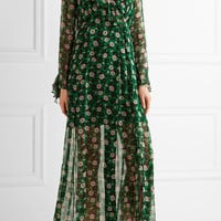Anna Sui - Ruffle-trimmed floral-print silk-georgette wrap dress