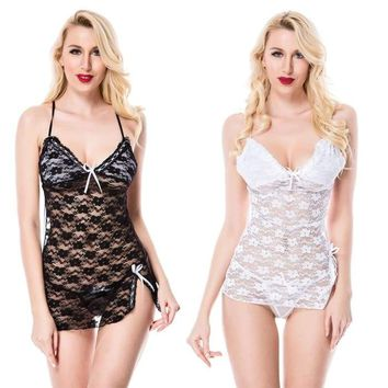 Women's Lace Dress Nightwear Babydoll Underwear See Through G-String Sleepwear