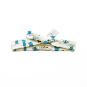 Beetles in Teal Organic Stretch Knit Head Tie For Women