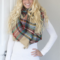 Tan, Red, and Green Blanket Scarf