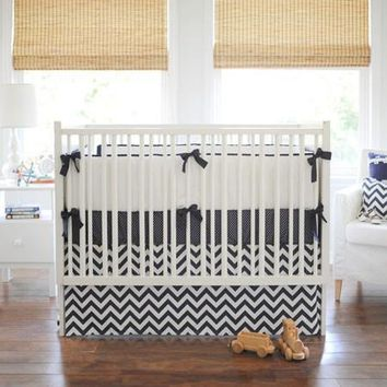 Navy Chevron Baby Bedding Set