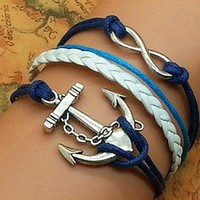 Infinity anchor blue rope  bracelet