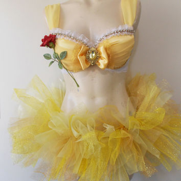 Belle Inspired- Yellow Rave Outfit With Matching Tutu