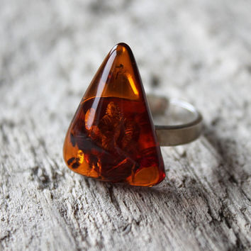 Baltic amber ring with silver, Amber jewellery, natural amber, Handmade jewelry, Cognac amber ring, elegant ring, amber and silver ring