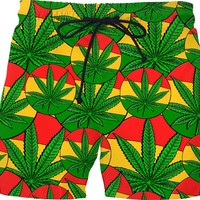 420 swim shorts, ganja leaf and three color stripes, weed, marihujana themed pants