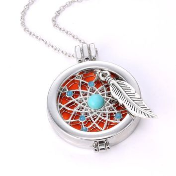 Native American Style Dream Catcher & Eagle Feather Personal EO Diffuser Pendant Necklace