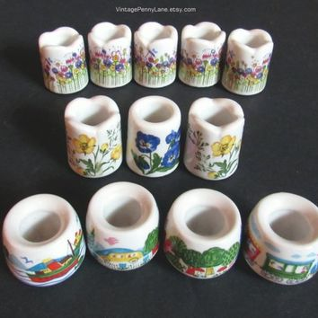 Vintage Miniature Candle Holders, 4 Mini German Ceramic Candle Holders by Funny Design