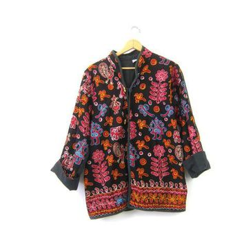 Vintage Ethnic Jacket 90s Embroidered Coat with Elephants & Birds Tribal Cotton Jacket with Toggles Womens Free Size OSFM