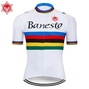 Banesto Quick Dry Breathable Cycling Jersey Short Sleeve Summer Men's Shirt Bicycle Wear Racing Tops Bicycle Cycling Clothes