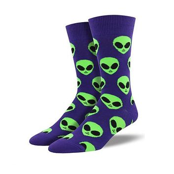 Novelty Socks WE COME IN PEACE PURPLE Fabric Cotton Crew Alien Mnc1537 Purple