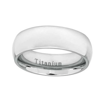 Custom Inside Custom Engraving Personalized Titanium Wedding Band Promise Ring 7mm White Finish Classic Domed Ring - ZDPTI537