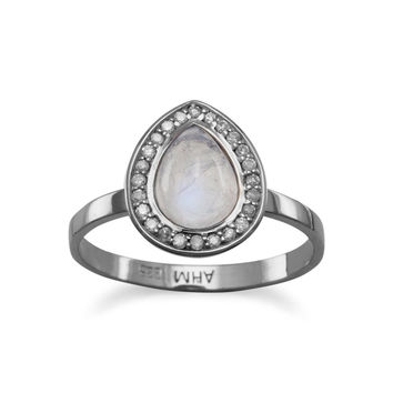 Midnight Collection Halo Ring With Gray Diamonds