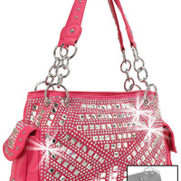 Concealed Carry Geometric Rhinestone Design Handbag In Fuchsia