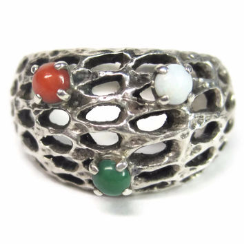 Vintage Israel Sterling Jade Coral and Opal Filigree Ring Size 6