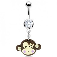 316L Surgical Steel Belly Ring with Hardened Clay Cute Monkey Face Dangle, 14G (1.6mm), 3/8