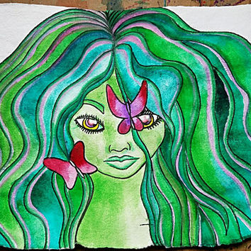 Green Hair Girl Painting, Abstract Art, Butterfly Art, Watercolor Painting, Green Watercolor Painting, Nature Watercolor, Original Painting