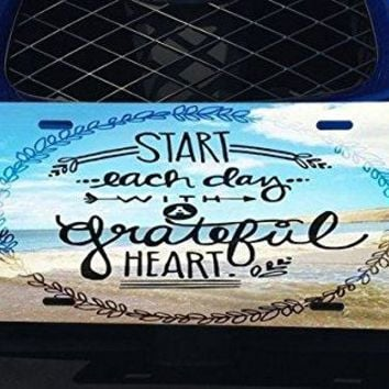 Trendy Accessories Inspirational Life Quote Seaside Design Pattern Print Aluminum License Plate for Car Truck Vehicles