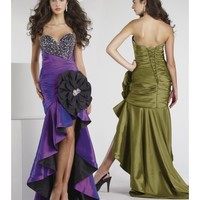 Beautiful Cheap Embellished Taffeta Sweetheart Party Dress With Asymmetric Shirring Along Bodice LP80015