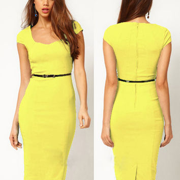 Yellow Short Sleeve Back Zipper Bodycon Midi Pencil Dress with Belt