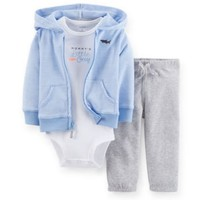 Carters Newborn 3 6 9 12 Months Cardigan Pants Set Baby Boy Clothes Blue Cotton