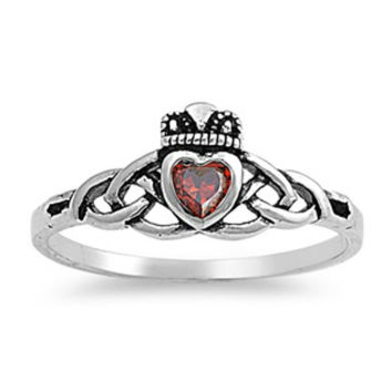 Sterling Silver Ruby Red Celtic Promise Claddagh Ring CZ size 5 6 7 8 9
