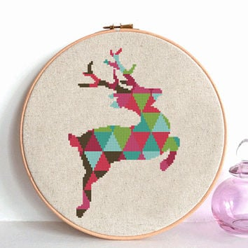 Geometric Deer Cross Stitch pattern modern, Deer Pattern, Mountain Forest Woodland Animals, Animal Cross Stitch red green