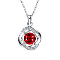 Spiral Ruby Red Classical Drop Necklace