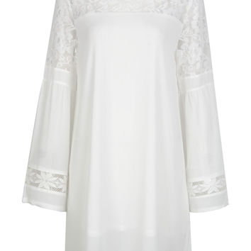 White Mesh Lace Insert Flare Sleeve Textured Shift Dress