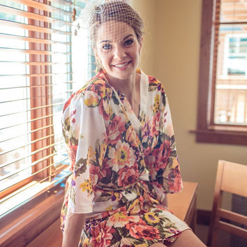 Code: A-2, For the lovely bride, Floral Kimono, Robe, Bridesmaid Robe, Bridesmaids gift, getting ready robes, Bridal shower favors
