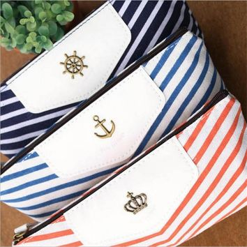 Vantage Navy Cosmetic Bag Striped Zipper Organizer Make up Bag Student Pen Bag Canvas Ladies Makeup Cosmetics Travel Storage Box