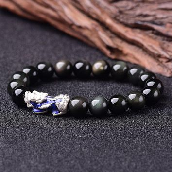 Natural Obsidian Beaded Bracelet 999 Sterling Silver Brave Troops Pixiu Charm Thermochromic Lucky Bracelet For Women And Men