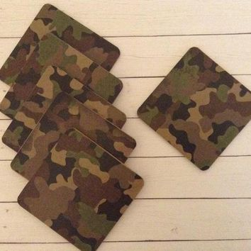 Wood Drink Coasters, Camo MDF Wood 6 Coaster Set, Camo Man Cave Decor, Military Gift, Hunting Gift, Hunting Cabin Decor, Gift For Husband