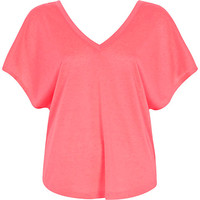 River Island Womens Coral V-neck t-shirt
