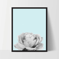 Blue Peony Flower, Wall Art, Artwork, Home Decor, Modern Print, Print Art, Nature Art