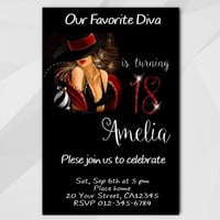 18th Birthday invitation, Chalkboard Diva Invitation, 13th 18th 21st 30th 40th, Custom Birthday invitation, etsy invite A006-4