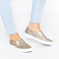 New Look Glitter Slip On Sneaker at asos.com