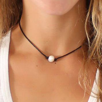 Womens Pearl on a Cord Necklace Choker + Gift Box