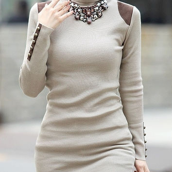Light Grey Cotton Women New Fashion Style High Collar Knitting Casual Slim Sweater M/L/XL NRJ117-B-9009-25
