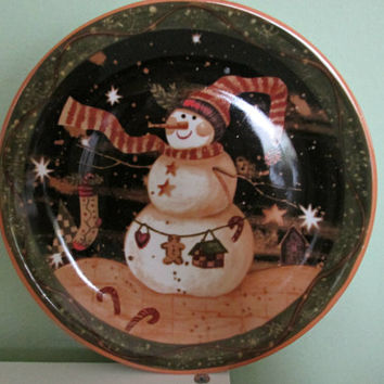 stoneware snowman dinner pplate wall decor christmas plate hollyday