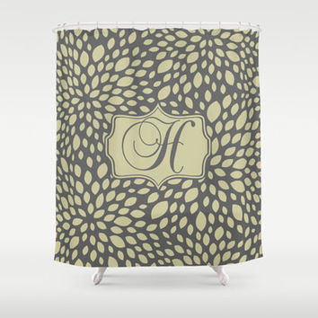 Olive & Grey, Taupe  Leaves Personalized Shower Curtain