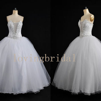 Long White Organza Wedding Dress Formal One-shoulder Beaded Bridal Gown Fashion Applique Wedding Party Dress New Lace Wedding Dress 2013