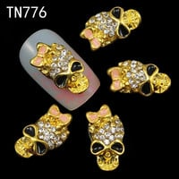 10Pcs Gold Black Alloy Skull Manicure 3D Nail Art Charms Pink Bow Skeleton Rhinestones