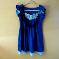 Monaco blue dress women Small upcycled kitty cat applique handmade yoyo vintage pleated hem ruffle sparkly collar quirky Purrfectly Smitten