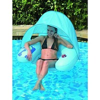 Inflatable Swimming Pool Water Sofa Lounge Chair with Shade Canopy n Cup Holder
