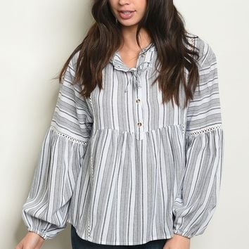 Long bell sleeve lace up detail striped tunic top