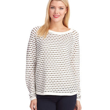 French Connection Striped Hole Sweater