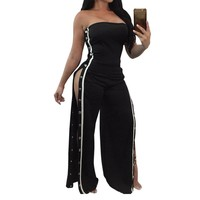 Sexy Strapless Jumpsuits Wide Leg Pant Side Striped Full Bodysuit Buttons Split Club Overalls Rompers Womens Jumpsuit