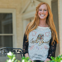 Adults Wild Spirit Indian Raglan with lace sleeves